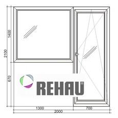 Металлопластиковый балконный блок REHAU дверь+окно. Нежын