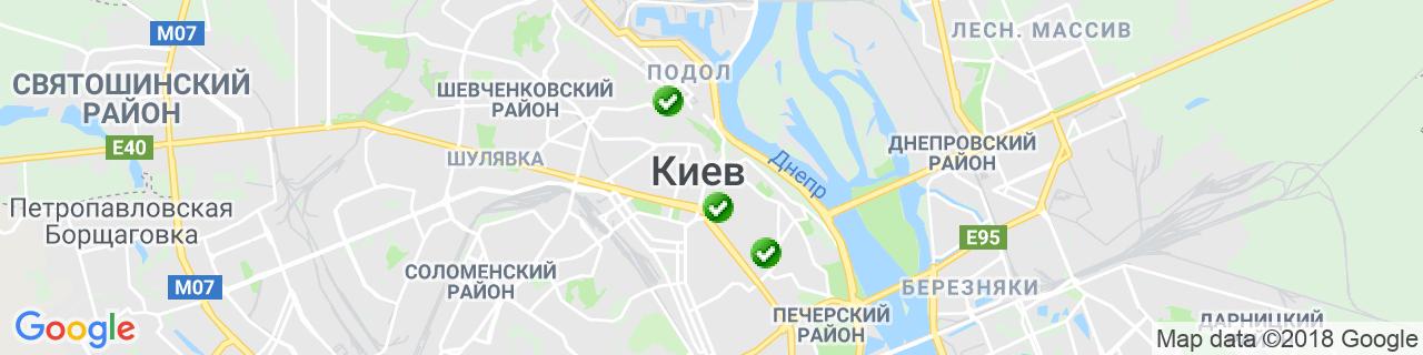 Карта объектов компании Украинская строительная компания Ю.Бі.Сі.
